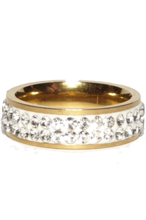 Caja De Anillos De Acero Con Piedra Strass 2 Lineas X 36 U Dorado -