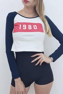 Remera m/l jersey combi c/estampa 1980 -