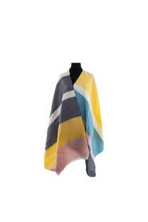 Modelo #11 Mantón negro-amarillo de acrílico frizado desflecado.  Medidas: 75 cm x 200 cm -