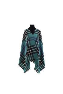 Modelo #17 Mantón verde-negro-blanco de acrílico frizado desflecado.  Medidas: 75 cm x 200 cm -