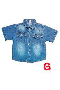 Camisa bb jean mc azul int c/bot gris -
