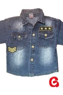 Camisa bb azul int c/apliques -