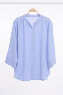 Camisa cuello Mao y hombro fruncido -