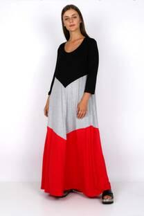 vestido largo tricolor -
