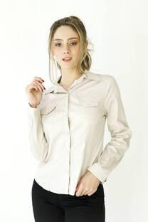 Camisa manga larga de poplin elastizada con bolsillo -