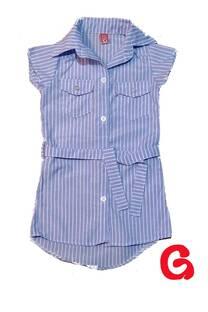 2410 - Camisa nena larga rayada c/cinto -