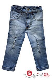Jean bb elast azul claro c/pinza y rotura -