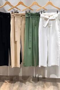 Pantalon palazo de lino con lazo  -