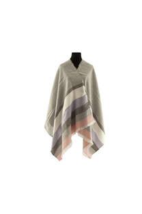 Modelo #28 Mantón gris-rosa de acrílico frizado desflecado.  Medidas: 75 cm x 200 cm -