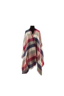 Modelo #30 Mantón rojo-azul de acrílico frizado desflecado.  Medidas: 75 cm x 200 cm -