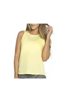 Musculosa con recorte, color amarillo.  Color: Amarillo Calce: Regular Composición: 90% poliester, 10% elastano. Recomendaciones de lavado: lavar con agua tibia, no planchar.