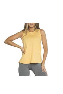 Musculosa con recorte, color Naranja.  Color: Naranja. Calce: Regular Composición: 90% poliester, 10% elastano. Recomendaciones de lavado: lavar con agua tibia, no planchar.