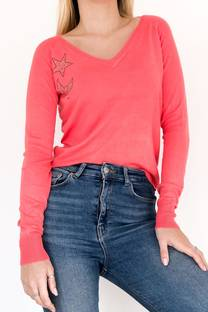 Sweater fina con aprique  -
