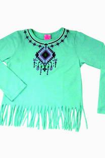 Remera de jersey con flecos y estampa con relieve (todos con relieve) -