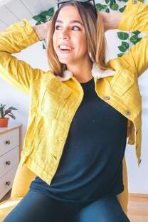 Campera jean cuello corderito -