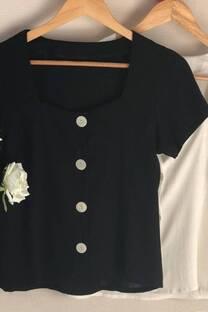 Camisa de lino cuello cuadrado trendy -