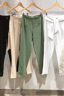 Pantalon de lino c/spandex con lazo -