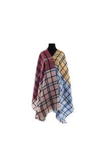Modelo # 8 Mantón rojo-rosa-celeste-amarillo de acrílico frizado desflecado.  Medidas: 75 cm x 200 cm -