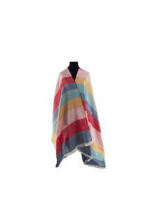 Modelo # 9 Mantón multicolor de acrílico frizado desflecado.  Medidas: 75 cm x 200 cm -
