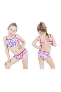 Conjunto bikini niña con diseño signo paz con volados. Color fucsia y azul. -