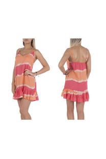 Vestido corto, diseño batik con tiritas regulables y volados al final.  Talle: Único. -