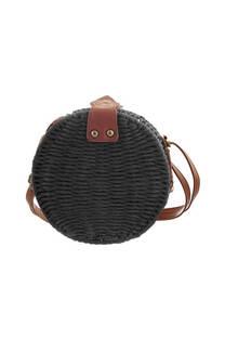 Cartera de rafia con broche imantado y tira regulable en cuero ecológico.  Medidas: 20 cm -