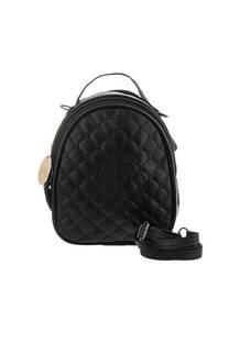 Mini mochila de cuero ecológico con bordado. Doble bolsillo con cierre, tira para correa y manija de agarre.  Medidas: 20 cm x 20 cm -