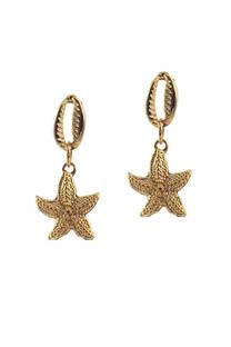 Aro dorado buzios con forma de estrella de mar.