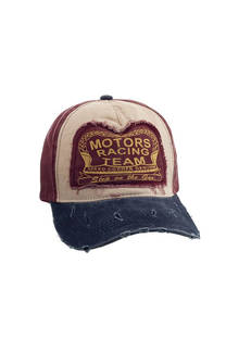 "Gorra trucker de jean vintage con estampado ""MOTORS RACING TEAM"" y tira regulable. -"