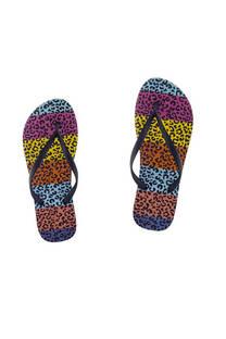 Ojota de dama goma inyectada con diseño leopardo multicolor. -