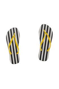 Ojota de dama goma inyectada con diseño a rayas color amarillo. -