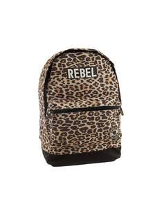 Mochila escolar de tela con estampado de leopardo. Posee bolsillos laterales y frontal con cierre.  Medidas: 40 cm x 30 cm -