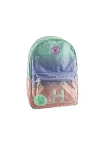 Mochila escolar con lentejuelas en degrade. Posee bolsillo frontal con cierre y llavero de pompón.  Medidas: 40 cm x 30 cm -