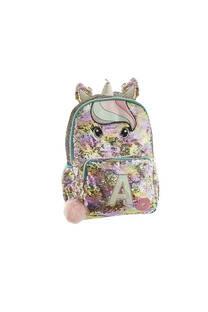 Mochila escolar lentejuelas con diseño de unicornios. Posee bolsillo frontal con cierre y laterales.  Medidas: 40 cm x 30 cm -
