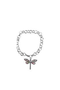 Pulsera acero quirúrgico 316 L con dije de mariposa.  Medidas: 20 cm x 3 mm / Peso: 20 gramos. -