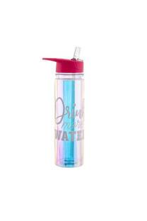 """Botella de agua metalizada con pico y descripción """"Drink more water"""".  Medida: 25 cm -"""
