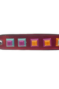 Llavero de cuero ecológico con múltiples tachas de colores -
