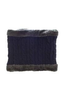 Cuello de lana trenzado con forro de piel. -
