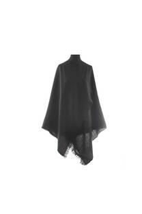 #ML1 Mantón premium de lana frizado negro, con flecos.  Medidas: 70 cm x 200 cm. -