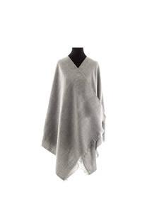 #ML2 Mantón premium de lana frizado gris, con flecos.  Medidas: 70 cm x 200 cm. -