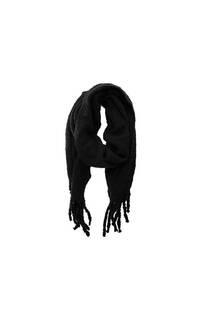 Bufanda de lana lisa con flecos -