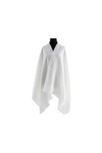 #ML6 Mantón premium de lana frizado crudo, con flecos.  Medidas: 70 cm x 200 cm. -
