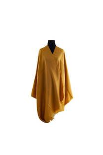 #ML5 Mantón premium de lana frizado mostaza, con flecos.  Medidas: 70 cm x 200 cm. -