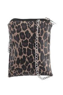 Bandolera doble de cuero ecológico animal print con tira de cadena  Medidas: 20 cm x 15 cm -