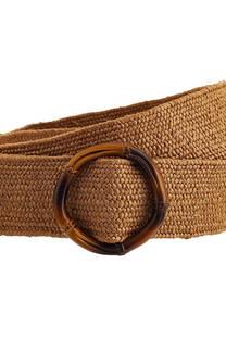 Cinto de rafia elastizado y hebilla de caña -