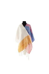 Mantón Modelo #21 de lana con colores varios y flecos.  Medidas: 185 cm x 55 cm / Peso: 330 gramos. -