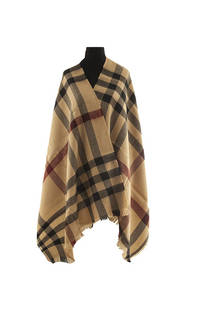 Modelo # 4 Mantón premium de lana frizado desflecado color suela-negro-rojo  Medidas: 75 cm x 200 cm -