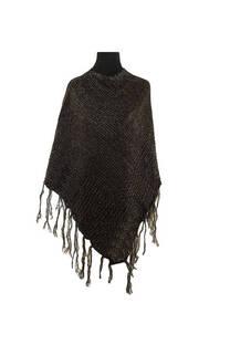 Poncho de lana, con flecos.  Medidas: 50 cm x 60 cm / Peso: 450 gramos -