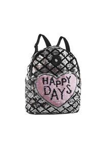 """Mochila de lentejuelas reversibles con diseño de corazón """"HAPPY DAYS"""" bolsillo chico interno y bolsillos laterales con tiras regulables.  -"""