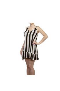 Vestido corto, diseño batik rayado banco-negro con tiritas regulables y volados al final.  Talle: Único. -